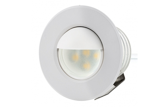 LED Step Lights - White 40mm Metal Trim with Opaque Hood Mini Round Deck / Step Accent Light - 0.5 Watt - MRLF-6xW-HTW2