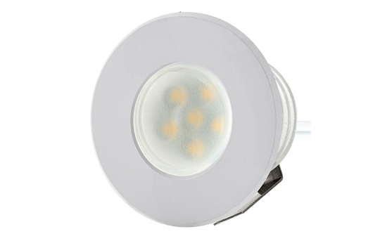 LED Step Lights - White 40mm Metal Trimmed Mini Round Deck / Step Accent Light - 0.5 Watt - MRLF-6xW-MTW