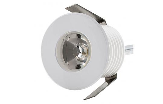 LED Step Lights - White 40mm Metal Trimmed Mini Round Deck / Step Accent Light - 1 Watt - MRLF-1xW-MTW
