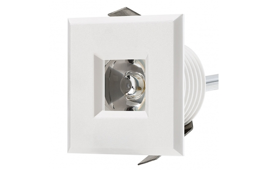 LED Step Lights - White 40mm Plastic Square Trimmed Mini Round Deck / Step Accent Light - 1 Watt - MRLF-1xW-STW