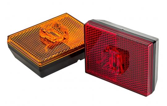 "Rectangular LED Truck Trailer Light w/ Reflex Reflector - 2-7/8"" PC Rated LED Marker Clearance Light - Stud Mount - 2 LEDs - M10PC-x2"