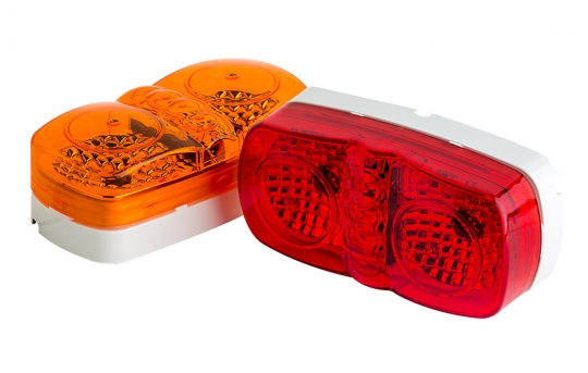 """Rectangular LED Truck and Trailer Lights - 4"""" PC Rated LED Side Clearance Lights - Pigtail Connector - Surface Mount - 6 LEDs - M12PC-x6"""