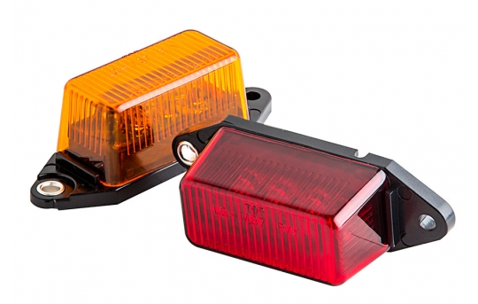 """Rectangular LED Truck and Trailer Lights - 3-1/8"""" LED Side Clearance Lights - Pigtail Connector - Surface Mount - 6 LEDs - M6-x6"""