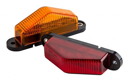 "Rectangular LED Truck and Trailer Lights - 3-1/2"" LED Side Clearance Lights w/ Peak Lens - Pigtail Connector - Surface Mount - 6 LEDs - M7-x6"