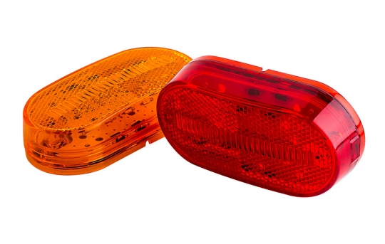 "Oval LED Truck and Trailer Lights - 4"" LED Side Clearance Lights - Pigtail Connector - Surface Mount - 4 LEDs - M9-x4"