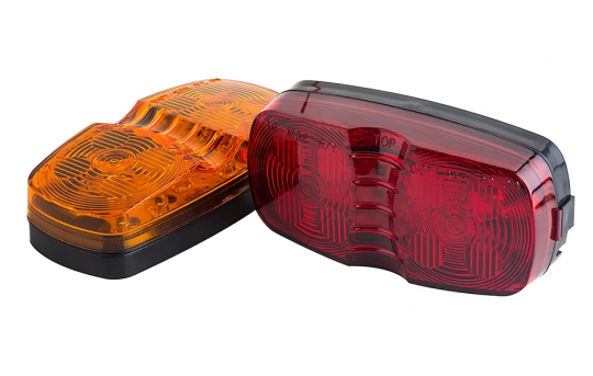 """Rectangular LED Truck and Trailer Lights - 4"""" Double Bullseye LED Side Clearance Lights - Pigtail Connector - Surface Mount - 12 LEDs - MDB-x12"""