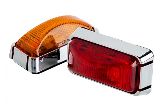 """Rectangular LED Truck and Trailer Lights - 3"""" PC Rated LED Side Clearance Lights w/ Chrome Base - Pigtail Connector - Surface Mount - 3 LEDs - MMKPC-x3"""