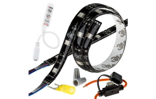 Motorcycle LED Lighting Kit - Weatherproof RGB Color-Changing LED Strip Kit - MELC-KIT-RGB30