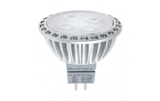 MR16 LED Landscape Light Bulb - 40 Watt Equivalent - Spotlight Bi-Pin Bulb - 40 Watt Equivalent - 400 Lumens - MR16-x5SMD-30-LAN