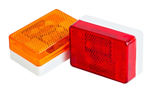 """Rectangular LED Truck and Trailer Lights - 2-5/8"""" LED Side Clearance Lights w/ Reflectorized Lens - Pigtail Connector - Surface Mount - 6 LEDs - MR180-x6"""