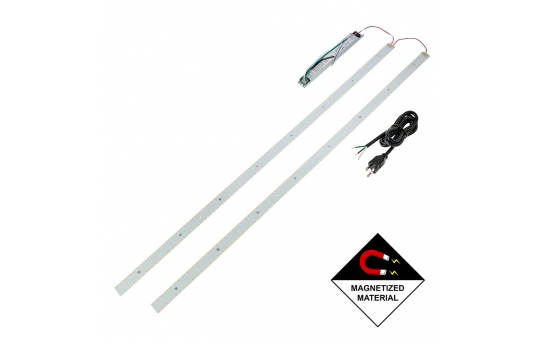 30W LED Magnetic Strip Kit - Two 4ft Pcs and LED Driver - 5,000 Lumens - Dimmable - MRKD-x14-30W-U
