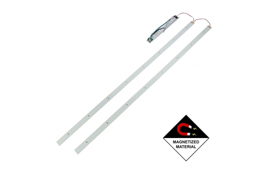 LED Magnetic Strip Kit - Two 4ft pcs and LED Driver - Dimmable - 30W - 5000 Lumens - MRKD-x14-30W
