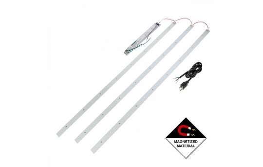 LED Magnetic Strip Kit - Three 4ft pcs and LED Driver - Dimmable - 50W - 8,000 Lumens - MRKD-x24-50W-U