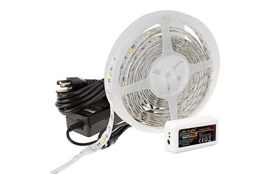 MiLight WiFi RGBW Smart LED Strip Light Kit - 12V LED Tape Light - Remote or Wi-Fi Controller Hub - 265 Lumens/ft. - NFLS-RGBW300X3-WHT-MZ