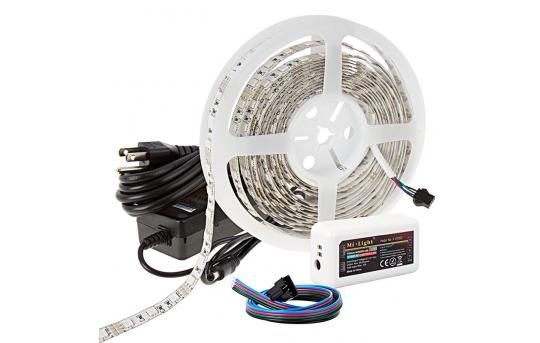 MiLight WiFi RGB Smart LED Strip Light Kit - 12V LED Tape Light w/ LC4 Connector - Remote or Wi-Fi Controller Hub - 244 Lumens/ft. - NFLS-RGBX2-LC4-MZ
