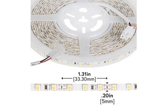 3528 White High-CRI LED Strip Light - Slim LED Tape Light w/ Plug-and-Play LC2 Connectors - 12V - IP20 - 110 Lumens/ft - NFLS-SS-x-LC2