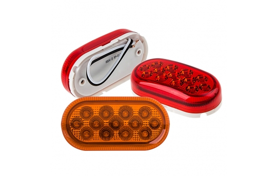 """Oval LED Truck and Trailer Lights - 4"""" LED Side Clearance Lights - Pigtail Connector - Surface Mount - 13 LEDs - M9-x13"""