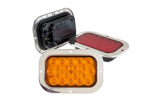 """Rectangle LED Truck and Trailer Lights w/ Built-In Stainless Steel Flange - 6"""" LED Brake/Turn/Tail Lights - 3-Pin Connector - Flush Mount - 20 LEDs - RTSS-xHB20"""