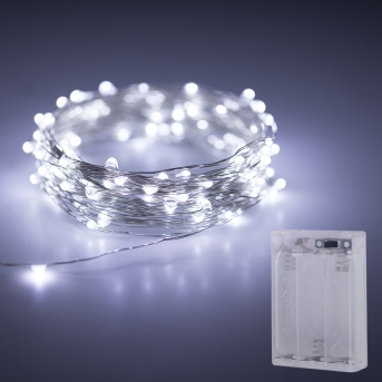 Battery Powered LED Fairy Lights w/ Silver Wire - 32ft - SFL-x4