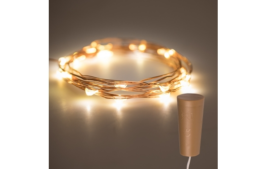 Wine Bottle LED Fairy Lights - Cork Shaped Battery Operated LED Lights w/ Copper Wire - 6.5ft - SFL-x2C-B