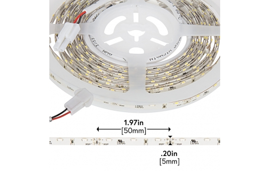 LED Strip Lights - 12V LED Tape Light w/ LC2 Connector - Side Emitting - 59 Lumens/ft. - SNFLS-x-WHT-LC2