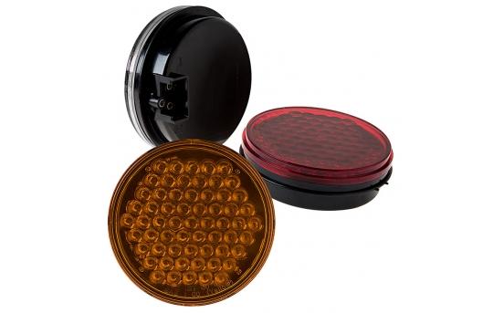 "Round LED Truck Trailer Lights - 4"" LED Brake/Turn/Tail Lights - 3-Pin Connector - Flush Mount - 61 LEDs - ST-x61"