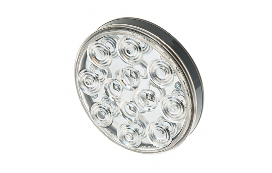 """Round LED Truck and Trailer Lights w/ Clear Lens - 4"""" LED Brake/Turn/Tail Lights - 3-Pin Connector - Flush Mount - 12 LEDs - STC-x12"""