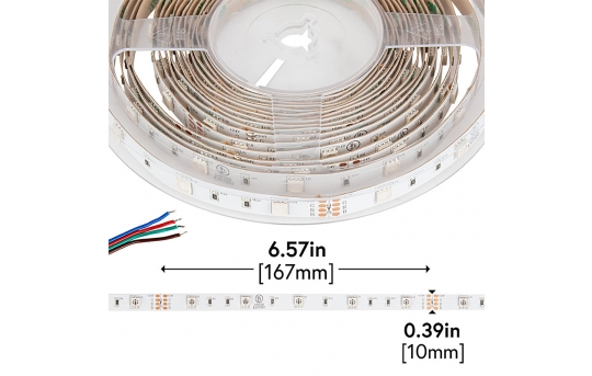 5050 LED Strip - RGB LED Tape Light - 24V - IP20 - 9 LED/ft. - STN-CRGB-A3A-10A5M-24V