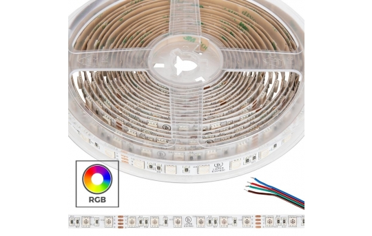 5050 RGB LED Strip Light/Tape Light - 24V - IP20 - 18 LEDs/ft - STN-CRGB-A6A-10B5M-24V