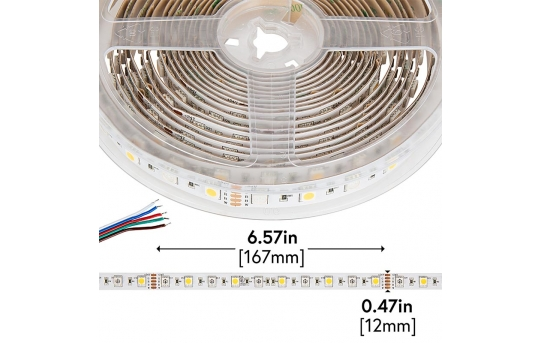 5050 RGB+W LED Strip Light - Color-Changing LED Tape Light w/ White and Multicolor LEDs - 24V - IP20 - 204 lm/ft - STN-ExK80-A10A-12B5M-24V