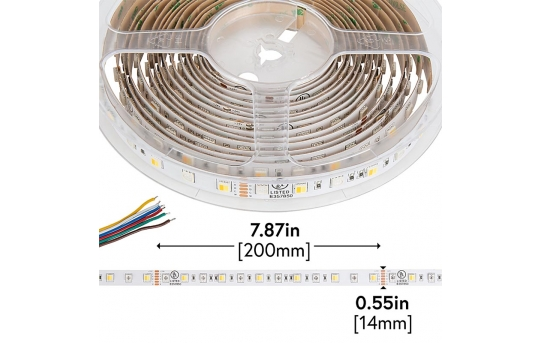 5050 LED Strip - RGB+CCT LED Tape Light - 24V - IP20 - 150 Lumens/ft. - STN-G80-A12A-14B5M-24V
