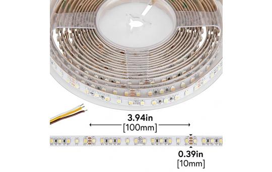 3528 LED Strip - W+W Tunable White LED Tape Light - 24V - IP20 - 350 Lumens/ft. - STN-H80-B12A-10C5M-24V