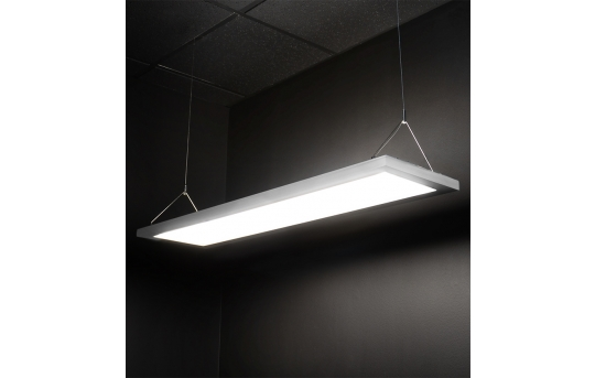 Dimmable 54W Up/Down LED Panel Light Fixture - Semitransparent - 1x4 - 5,400 Lumens - Suspended Mount - UDPD-xK14-54
