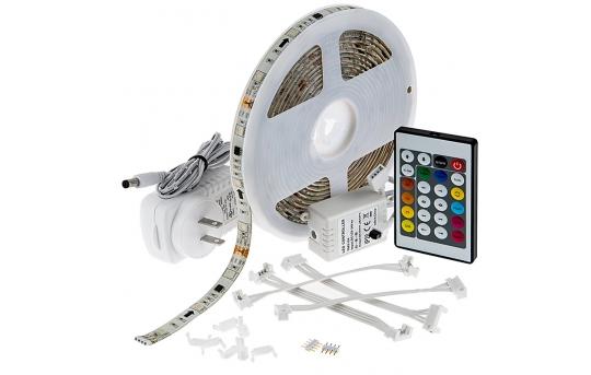 Outdoor RGB LED Strip Light Kit - Color Chasing 12V LED Tape Light - Weatherproof - 16 Lumens/ft. - SWDCK-RGB150