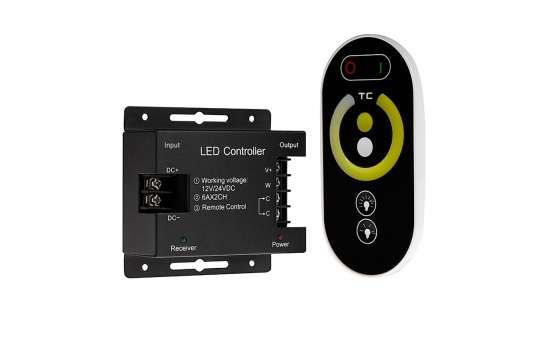 Tunable White LED Controller - Wireless RF Touch Color Remote - 6 Amps/Channel - LDRF-VCT6