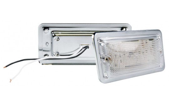 "5.75"" Rectangular LED Dome Light Fixture w/ Chrome Housing - 30 Watt Equivalent - 275 Lumens - RDL-W10"