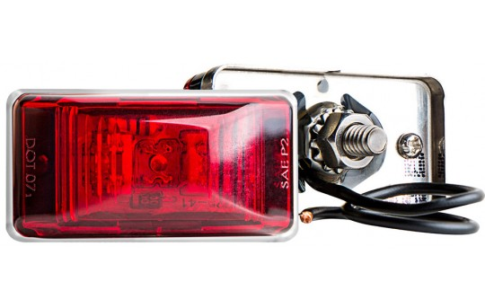 "Rectangular LED Truck and Trailer Lights - 2-1/8"" PC Rated LED Side Clearance Lights - Pigtail Connector - Stud Mount - 3 LEDs - M11PC-x3"