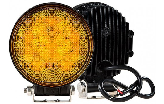 Round Amber LED Vehicle Strobe Light w/ Built-In Controller - 18 Watt - WVS-A18W-R