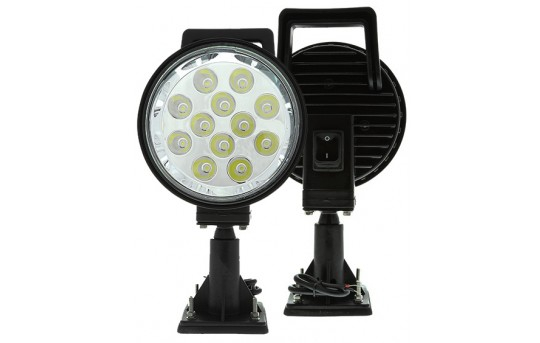 """Off-Road LED Work Light - 6"""" Round Adjustable Spot Light w/ Handle and Integrated Switch - 15W - 1,350 Lumens - WLA-12W-SM"""