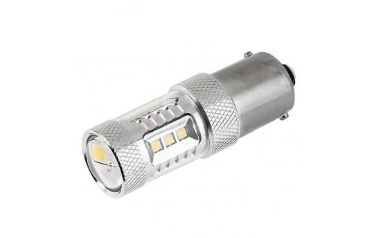 1156 LED Bulb w/ Focusing Lens - 15 SMD LED Tower - BA15S Retrofit - 1156-W15-TL-CAR