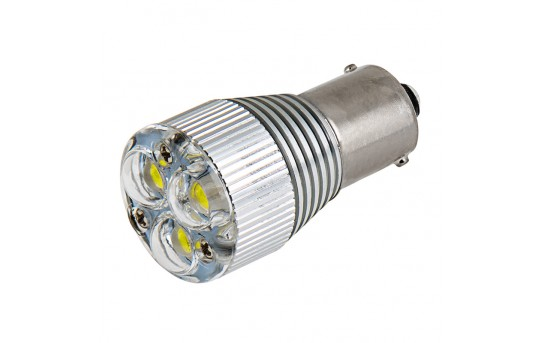 1156 LED Boat and RV Light Bulb w/ Removable Lens - 3 High Power LED - BA15S Retrofit - 240 Lumens - 1156-x3X1W-RVB