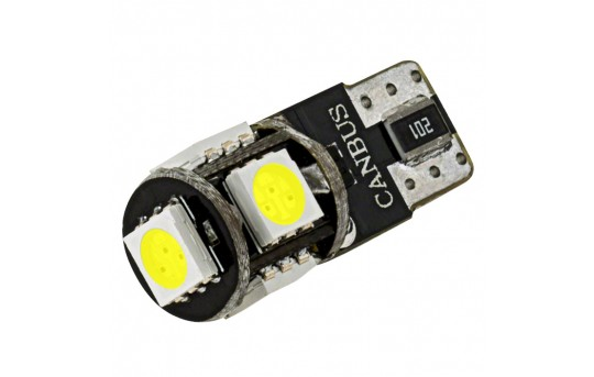 194 CAN Bus LED Bulb - 5 SMD LED Tower - Miniature Wedge Retrofit - 85 Lumens - 194-x5-CBT-RVB