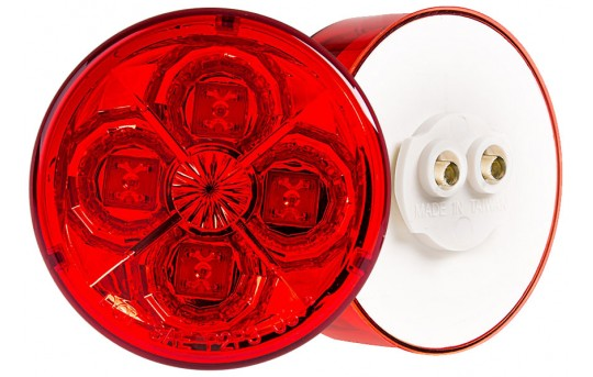 "Round LED Truck and Trailer Lights - 2-1/2"" LED Side Clearance Lights - 2-Pin Connector - Surface Mount - 4 LEDs - M4-xHB4"