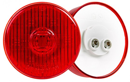 "Round LED Truck and Trailer Lights - 2-1/2"" PC Rated LED Side Clearance Lights - 2-Pin Connector - Flush Mount - 7 LEDs - M4PC-x7"