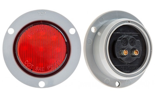 "Round LED Truck and Trailer Lights - 2"" LED Side Clearance Lights w/ Flange - 2-Pin Connector - Flush Mount - 9 LEDs - M5F-x9"