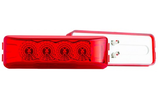 "Rectangular LED Truck and Trailer Lights - 3-3/4"" LED Side Clearance Lights - 2-Pin Connector - Surface Mount - 4 LEDs - M2-xHP4"