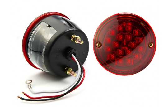 "Round LED Trailer Light w/ License Plate Light - 4"" LED Brake/Turn/Tail Light - Pigtail Connector - Stud Mount - 23 LEDs - TLS-R17HF-RL"