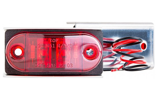 "Mini Oval LED Truck and Trailer Lights - 2-1/2"" LED Side Clearance Lights w/ Stainless Steel Bracket - Pigtail Connector - Surface Mount - 2 LEDs - MSS-x2"