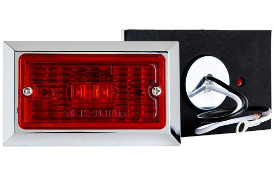 "Rectangular LED Truck and Trailer Lights - 3-3/4"" LED Side Clearance Lights w/ Chrome Bezel - Pigtail Connector - Surface Mount - 2 LEDs - M10C-x2"