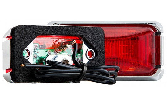 "Rectangular LED Truck and Trailer Lights - 3"" PC Rated LED Side Clearance Lights w/ Chrome Base - Pigtail Connector - Surface Mount - 3 LEDs - MMKPC-x3"